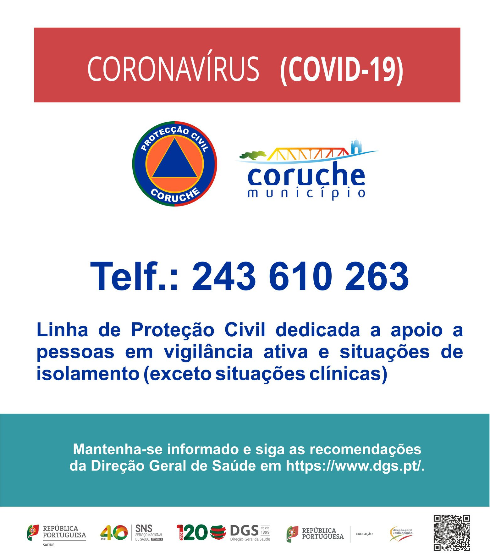 CORONAVÍRUS(COVID – 19) – Linha da Proteção Civil  Município de Coruche